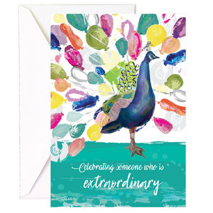 Peacock Balloon Birthday - Single Card