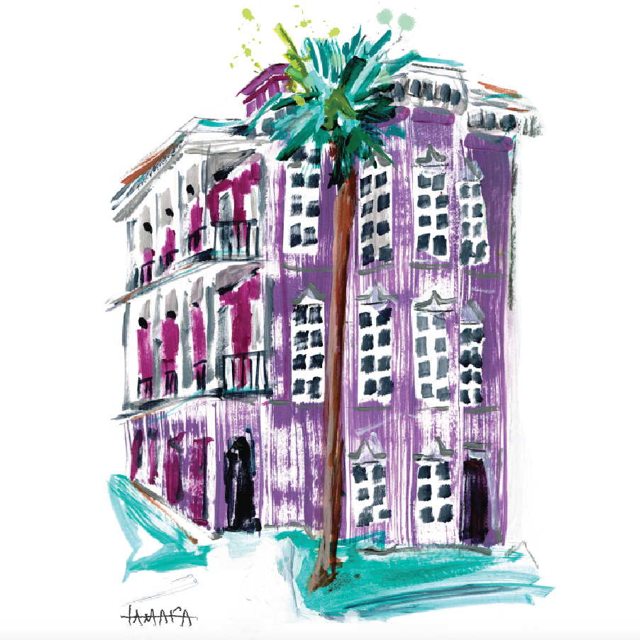 "Purple Charleston House | 9"" x 12"" on Paper"