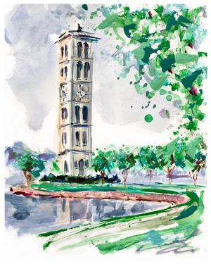 "Furman Bell Tower Study 1 | 9"" x 12"" on Paper"