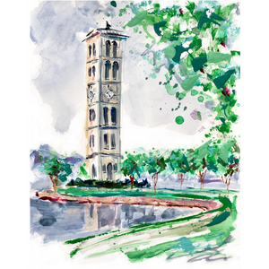Limited Edition Matted Print - Furman Bell Tower