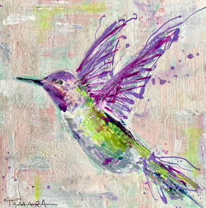 Happy Hummingbird | 10x10 (Framed)