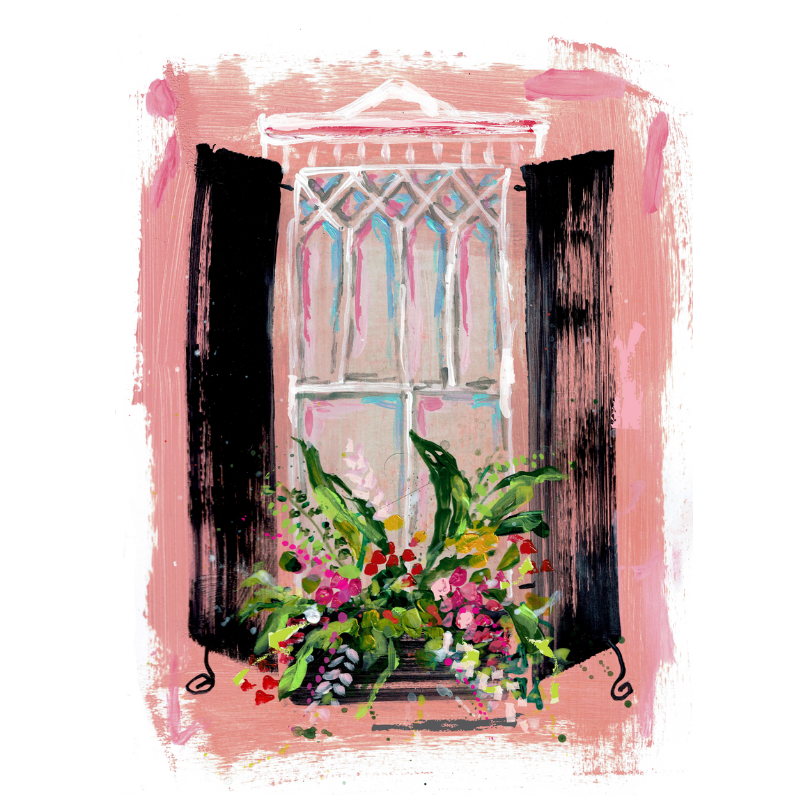 "Pink Window on Paper | 9"" x 12"""
