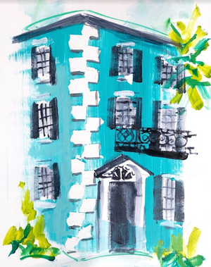 "Teal Charleston House | 9"" x 12"" on Paper"