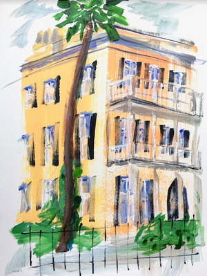 "Yellow Charleston House | 9"" x 12"" on Paper"