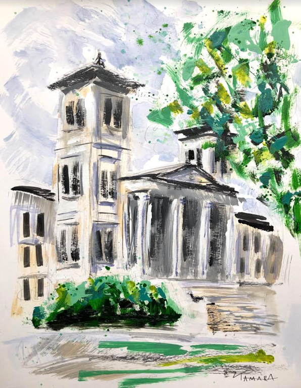 "Wofford Main Building Study II | 11"" x 14"" on Paper"