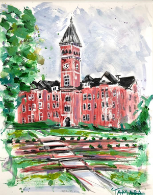 "Clemson Tillman Hall Study 1 | 9"" x 12"" on Paper"