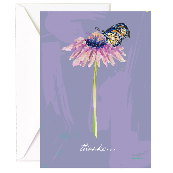 Butterfly + Flower Thank You - Single Card