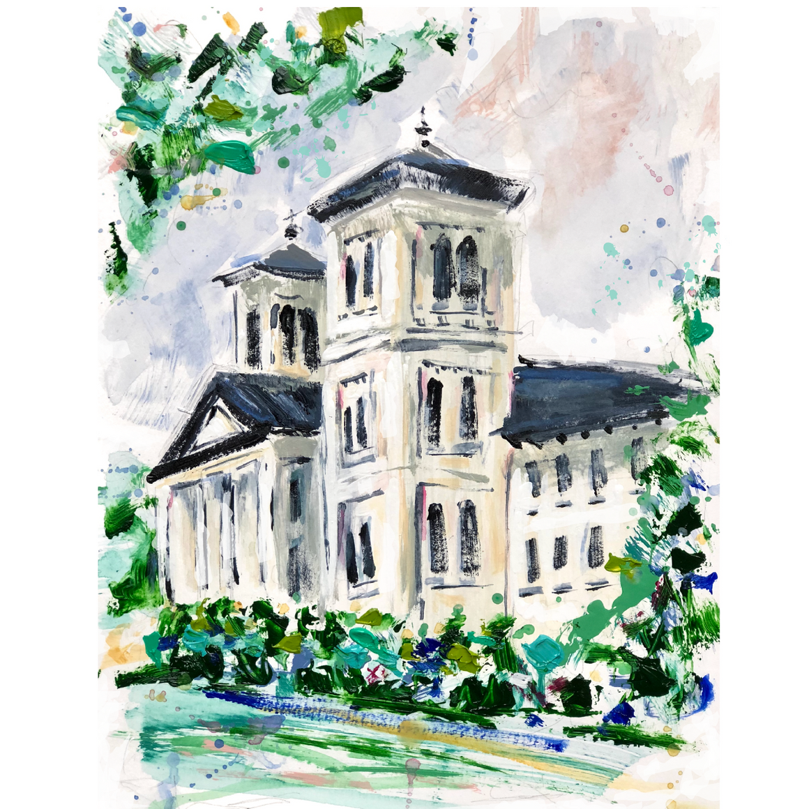 Limited Edition Matted Print - Wofford Main Building
