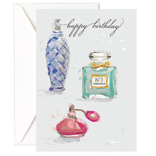 Perfume Bottles Birthday Single Card