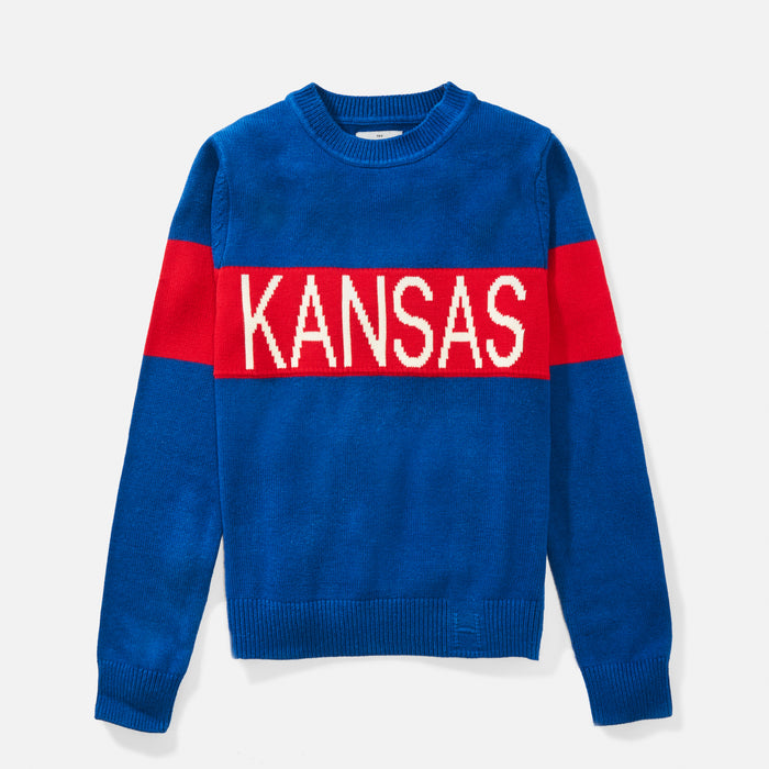 Women's Kansas Retro Stripe Sweater (Royal)