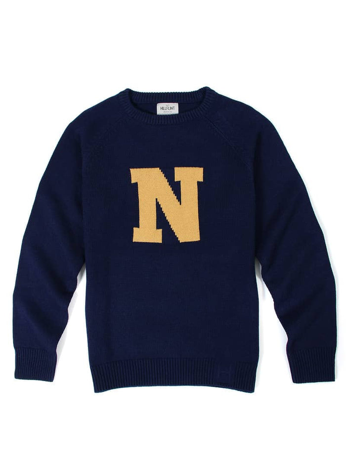 Merino Navy Letter Sweater