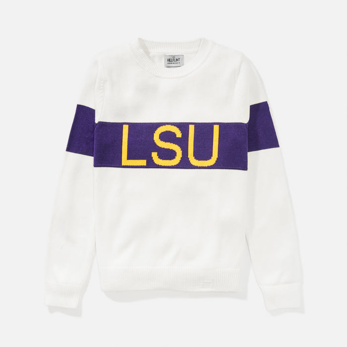Women's LSU Retro Stripe Sweater