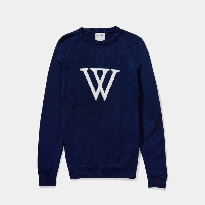 Merino Wellesley Letter Sweater (Midnight)