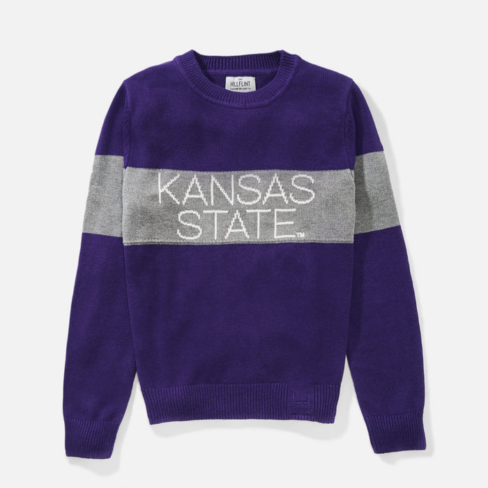 Women's Kansas State Retro Stripe Sweater (Purple)