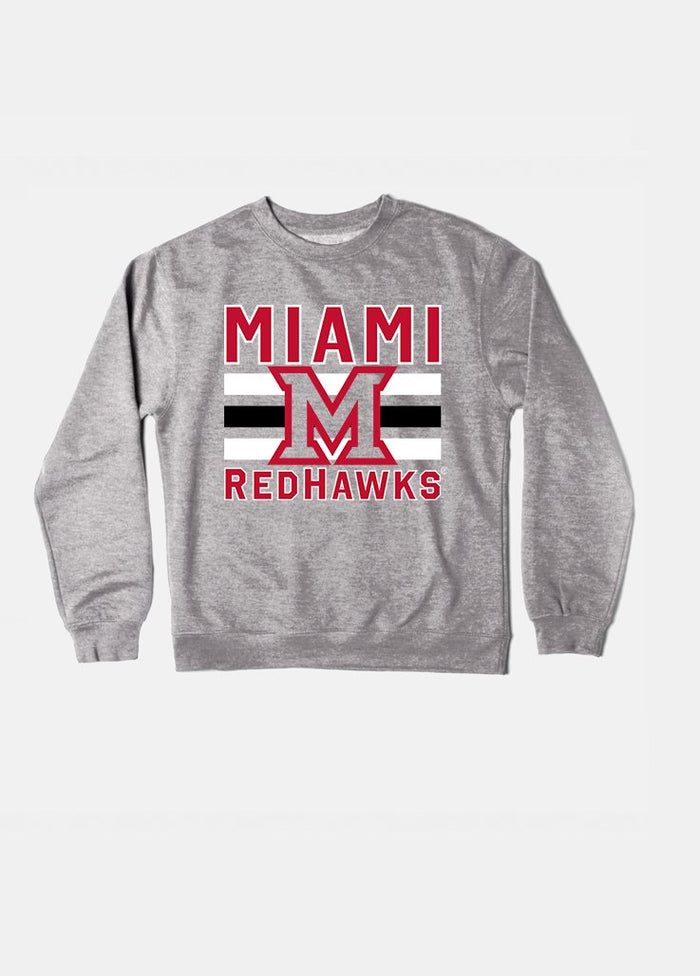 Miami of Ohio Vintage Triple Stripe Crewneck (Grey)