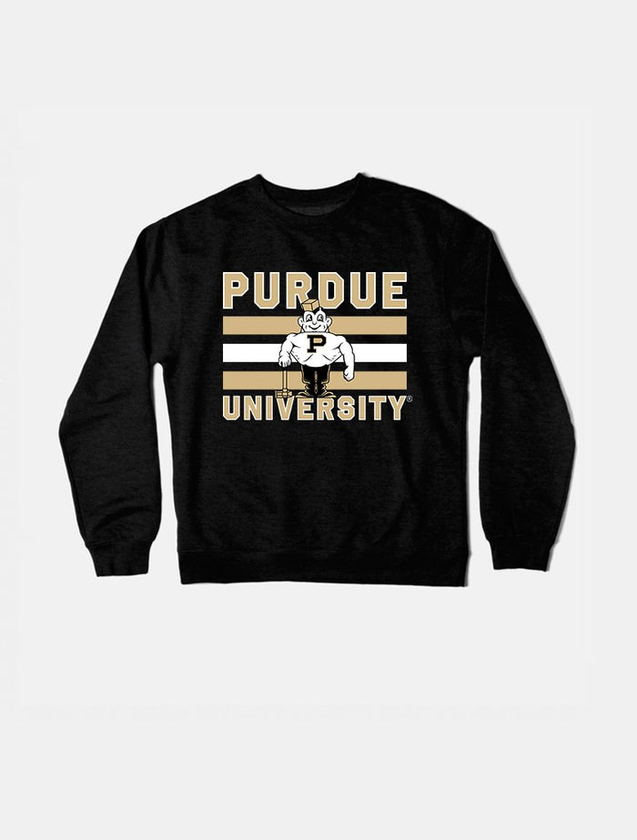 Purdue Vintage Triple Stripe Crewneck (Black)