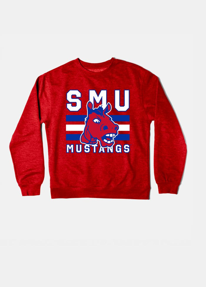 SMU Vintage Triple Stripe Crewneck (Red)