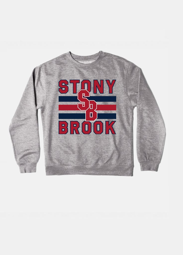 Stony Brook Vintage Triple Stripe Crewneck (Grey)
