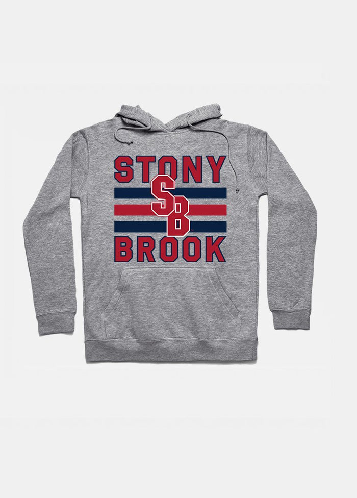 Stony Brook Vintage Triple Stripe Hoodie (Grey)