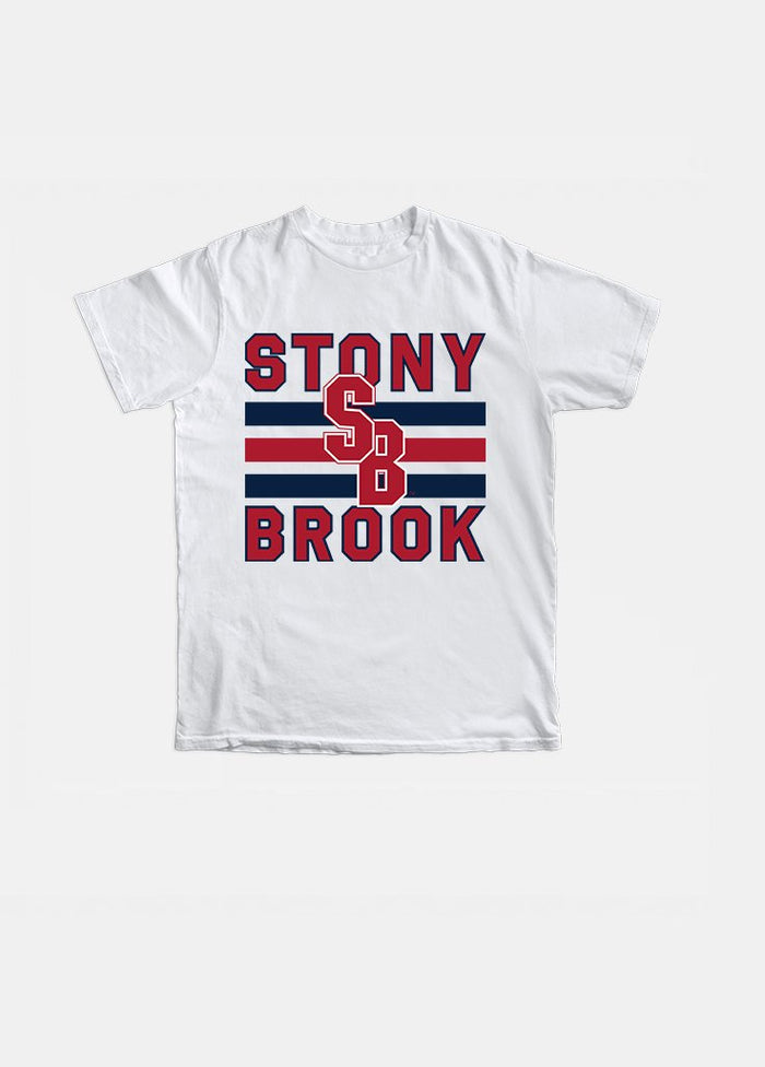 Stony Brook Vintage Triple Stripe Tee (White)