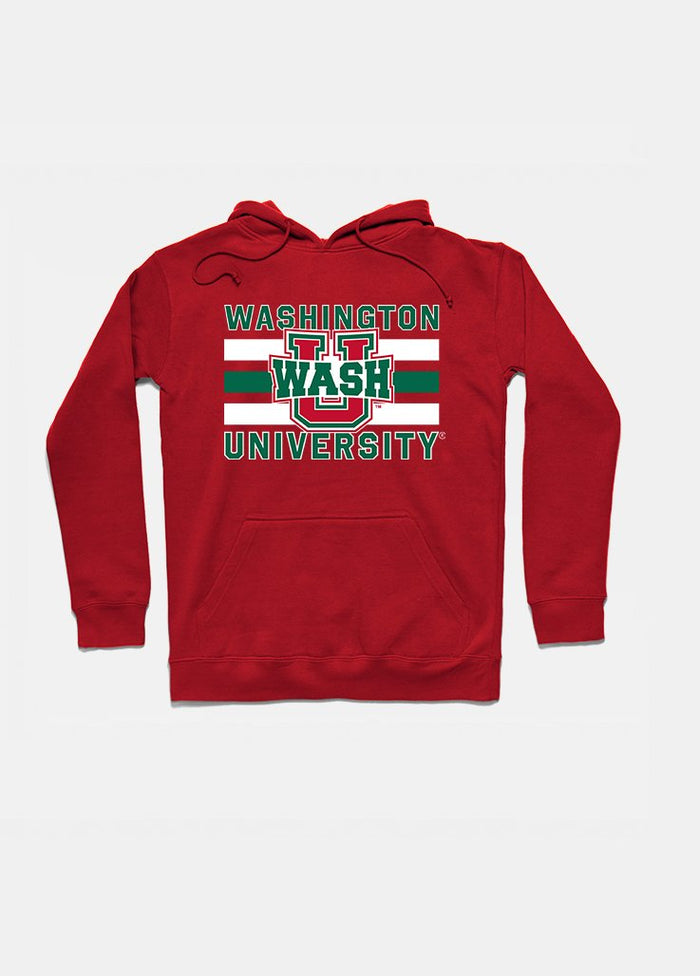 Wash U Vintage Triple Stripe Hoodie (Red)