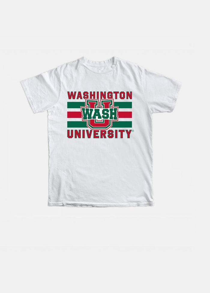 Wash U Vintage Triple Stripe Tee (White)
