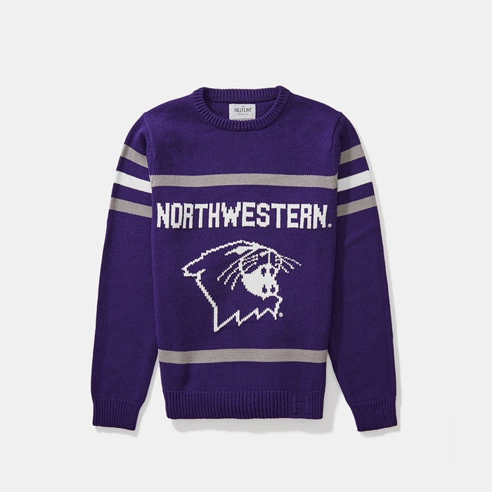 Cotton Blend Northwestern Mascot Sweater
