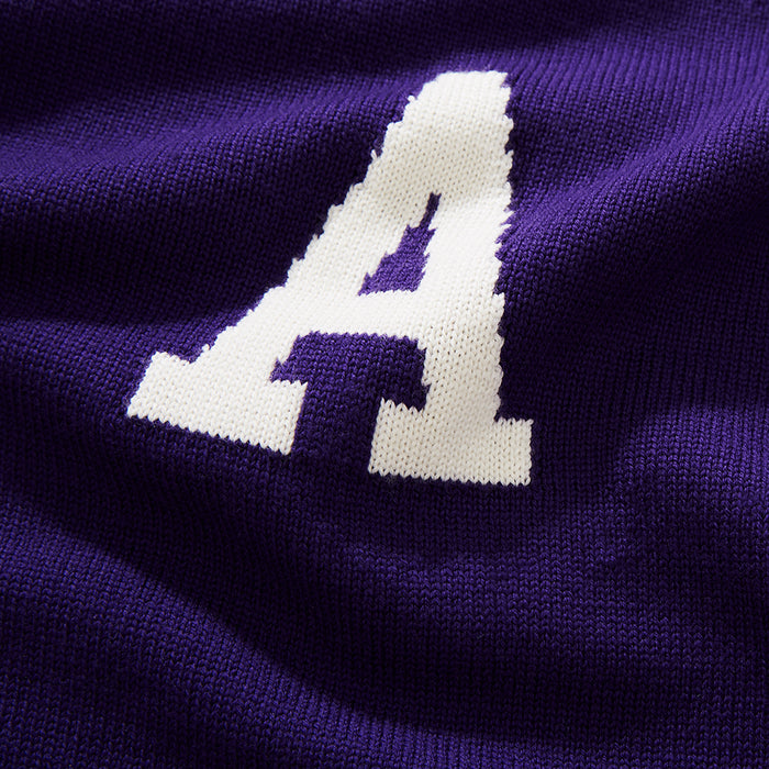 Merino Amherst Letter Sweater (Purple)