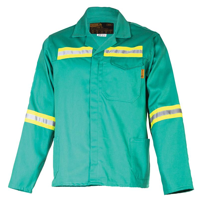 100% Cotton D59 fern Green Flame retardant Conti Jacket with Reflective  SANS 1387  and SANS 1434-1