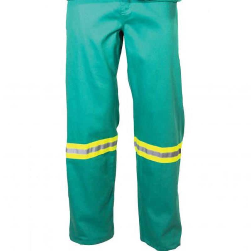100% Cotton D59 fern Green Flame retardant Conti Pants with Reflective  SANS 1387  and SANS 1434-1