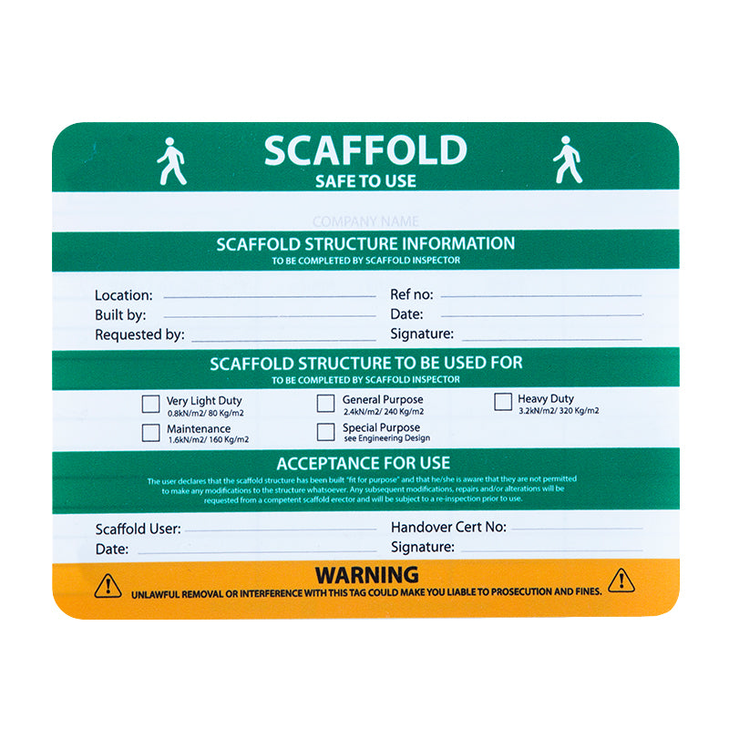 Scaffolding tag Insert Box of 20