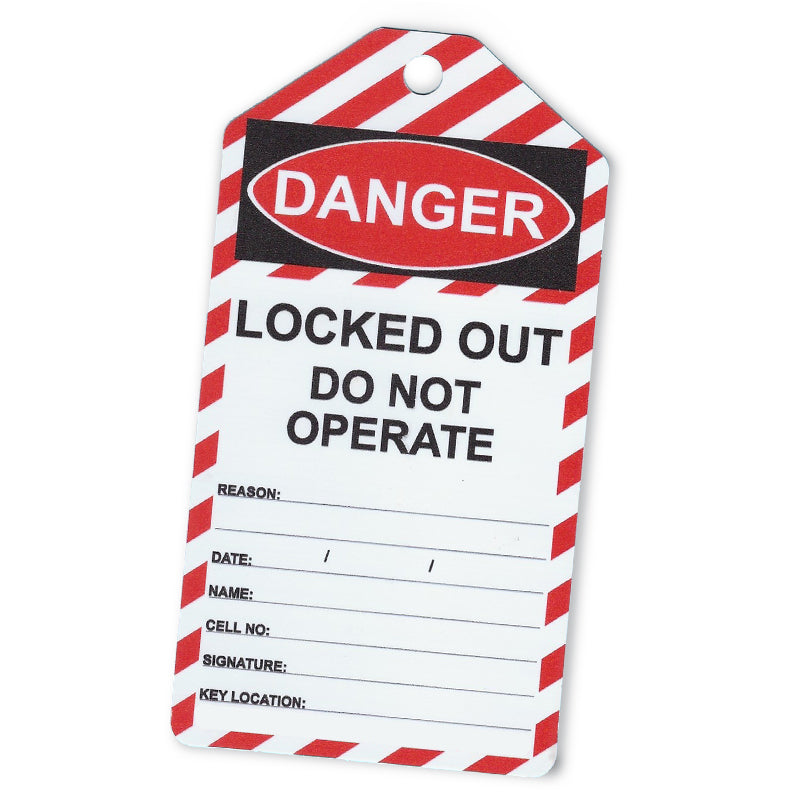 Lock out Tag 150x80mm Box of 100