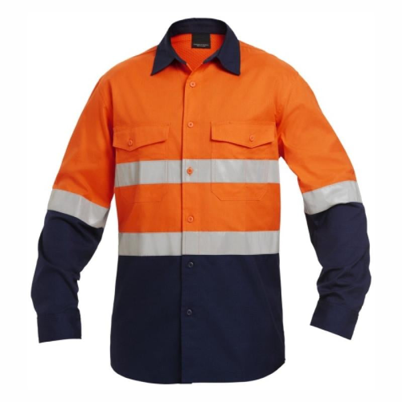 100% cotton hi-visibility ventilated two tone long sleeve reflective shirt