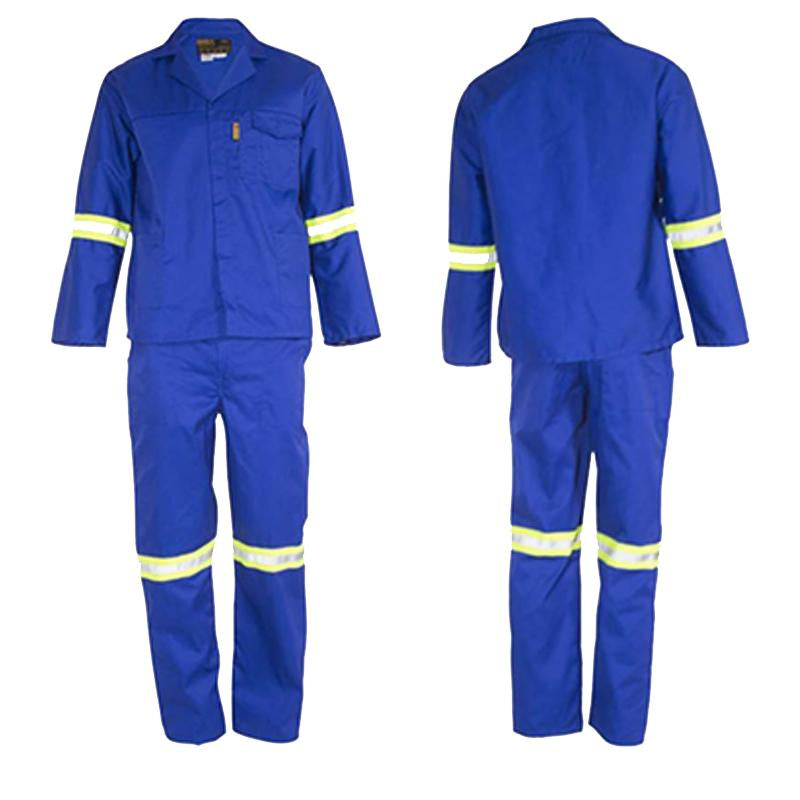 Polycotton two piece HYBRID royal blue conti suits with reflective tape