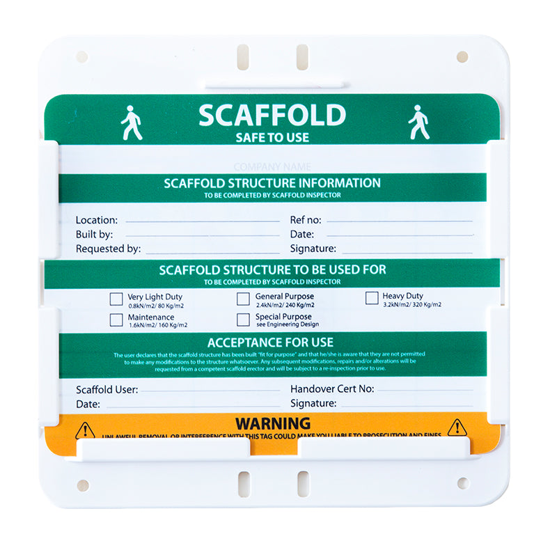 Scaffolding tag Holder & Insert Box of 20