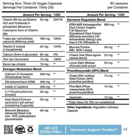 Project AD Estro Pro + Nutritional Information