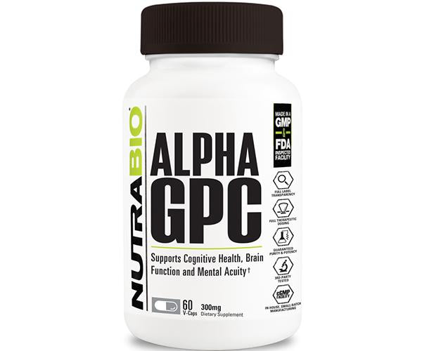 NutraBio Alpha GPC 300mg 60 Caps