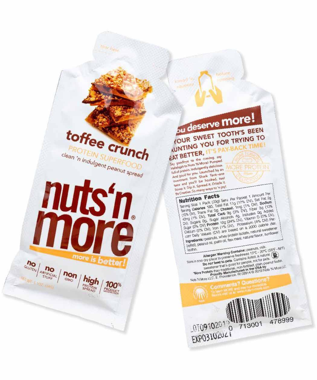 Nuts 'N More Toffee Crunch Peanut Butter Single Serving 34g EXP 16/02/2020