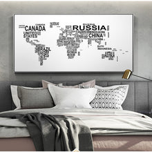 Load image into Gallery viewer, Letters Modern World Map Wall Posters Home Decor Black And White Art Prints World Map Abstract Wall Paintings For Living Room - erfolgslounge24
