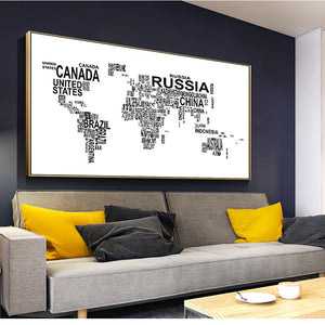 Letters Modern World Map Wall Posters Home Decor Black And White Art Prints World Map Abstract Wall Paintings For Living Room - erfolgslounge24