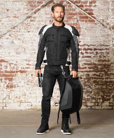 Asger Gray Textile Motorcycle Jacket With CE-level Removable Armor