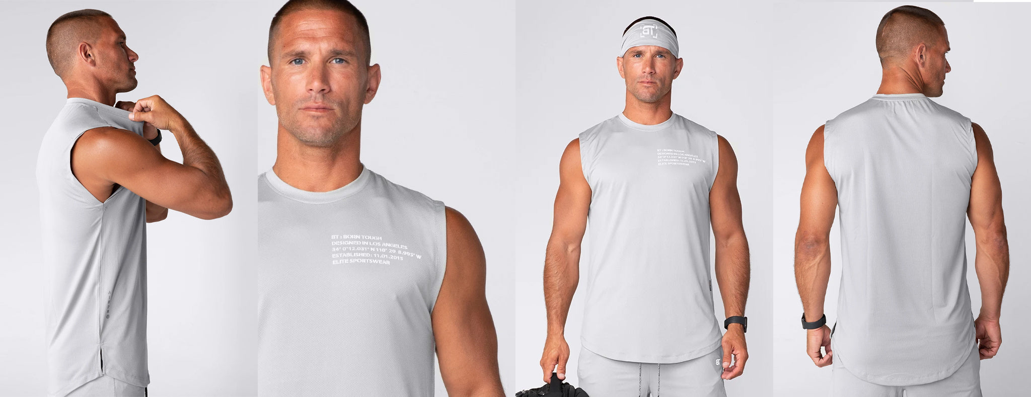 Born Tough Air Pro Sleeveless Fitted Gym T-Shirt For Men