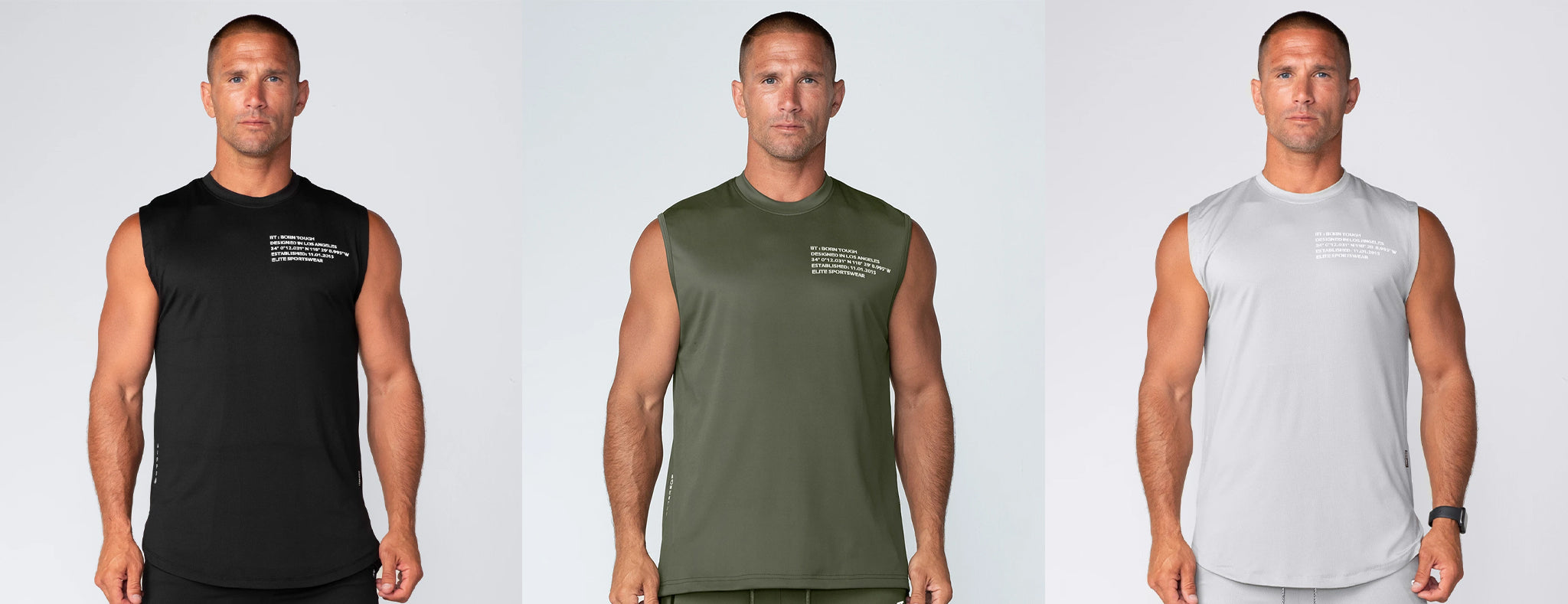 Born Tough Momentum Sleeveless Fitted Tee Shirt For Men