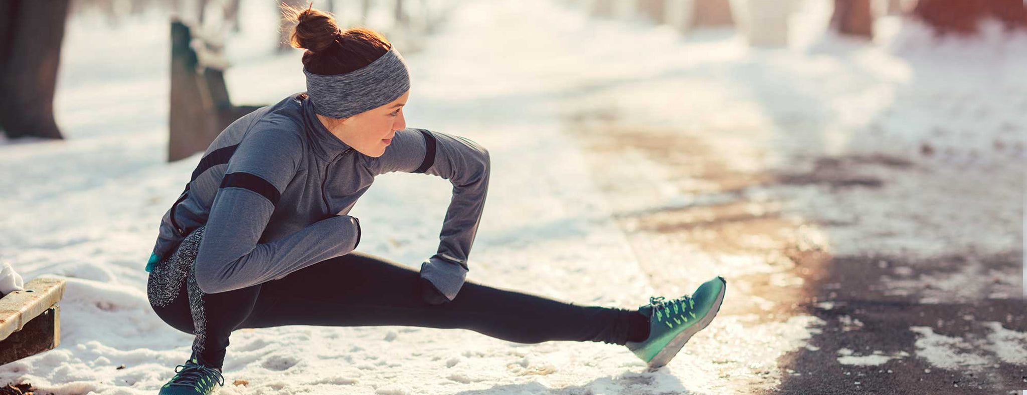 Girl doing workout in winter