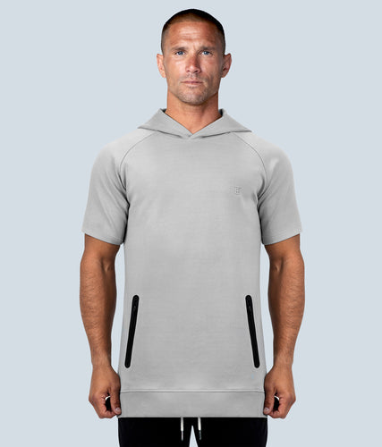 Born Tough Core Zippered Gray Silicon Washing Short Sleeve Gym Workout Hoodie for Men