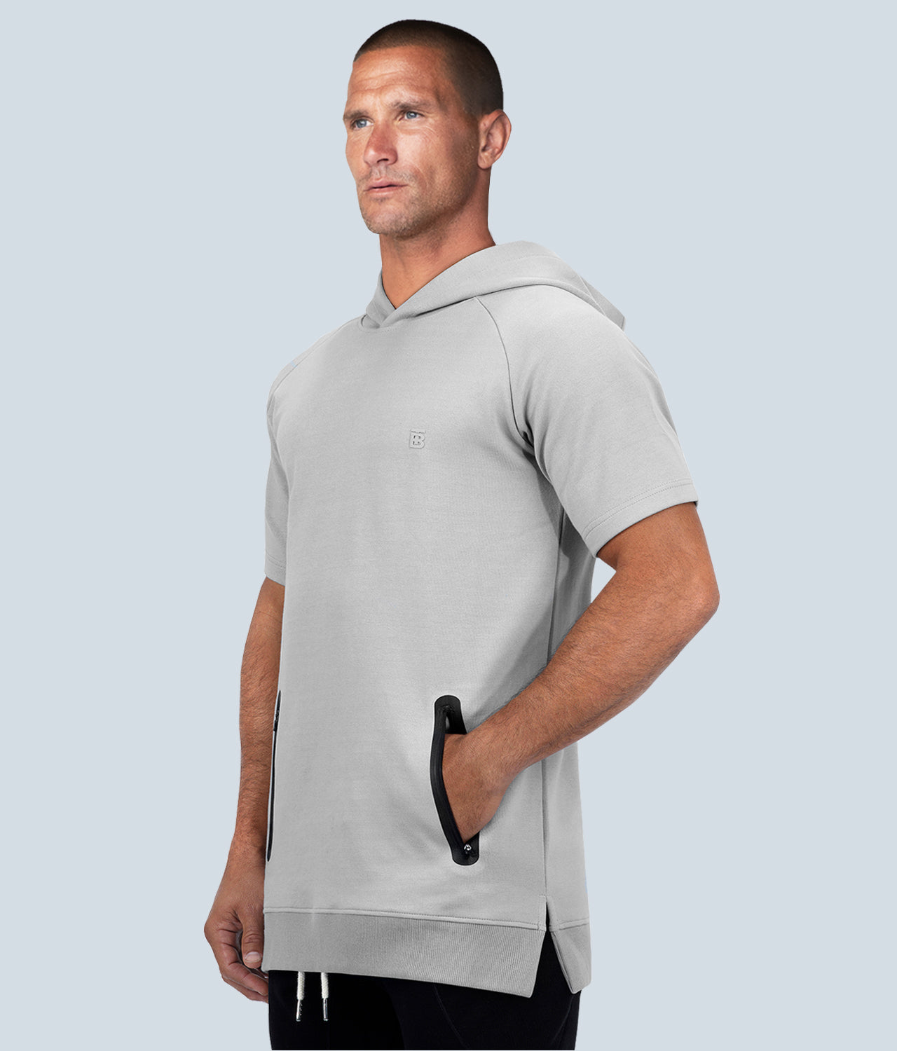 Born Tough Core Gray Heat-Sealed Zippered Pocket Short Sleeve Gym Workout Hoodie for Men