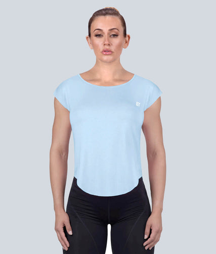 Born Tough Capped Sheer Flexible Fabric Blue Sleeveless Gym Workout Shirt for Women