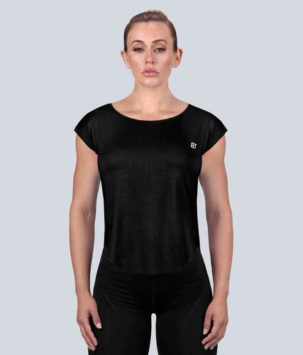 Born Tough Capped Sheer Flexible Fabric Black Sleeveless Gym Workout Shirt for Women