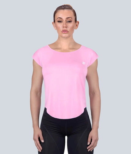Born Tough Capped Sheer Flexible Fabric Pink Sleeveless Gym Workout Shirt for Women