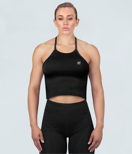 Born Tough Core Flexible Fabric Black Sheer Halter Gym Workout Top for Women